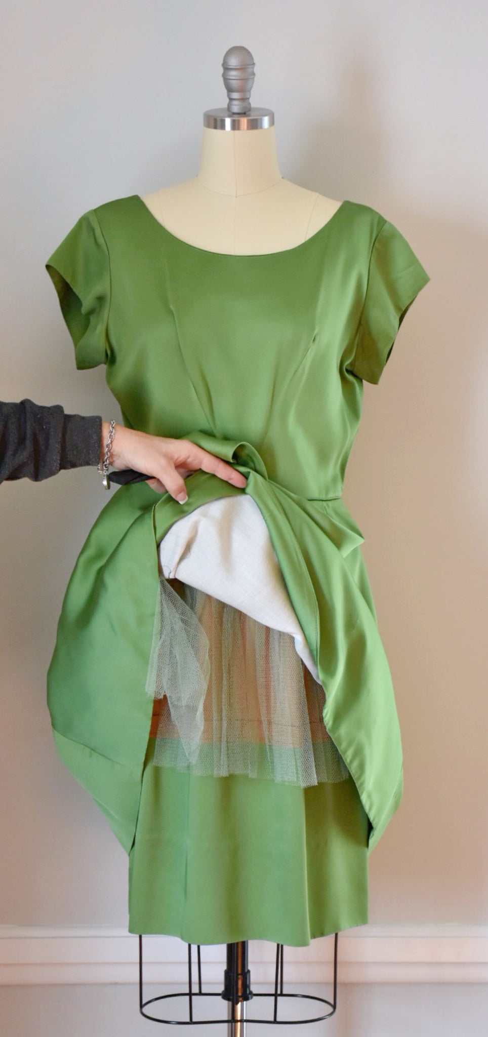 50s / 60s Green Satin Party Dress