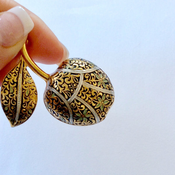 60s Vintage Damascene Apple Brooch