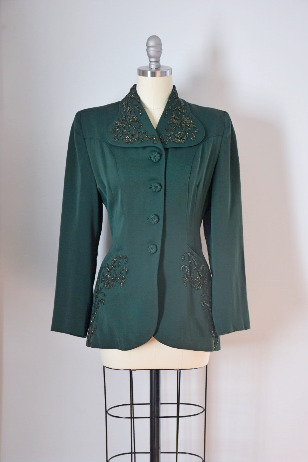 Vintage 40s Gaberdine Wool Jacket With Beading