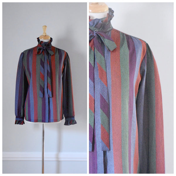 70s Vintage Mock Neck Striped Blouse