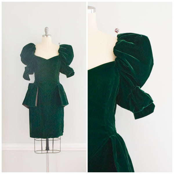 80s Green Velvet Peplum Dress from DuncanLovesTess.com