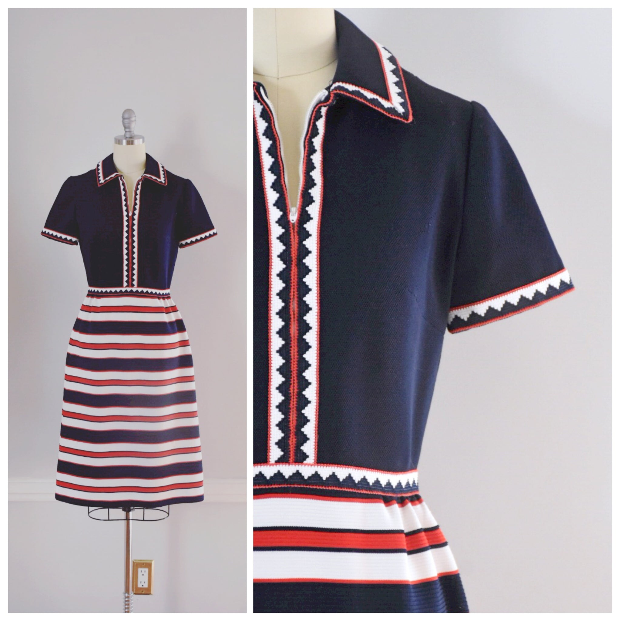 60s 70s Vintage Shirtwaist Dress