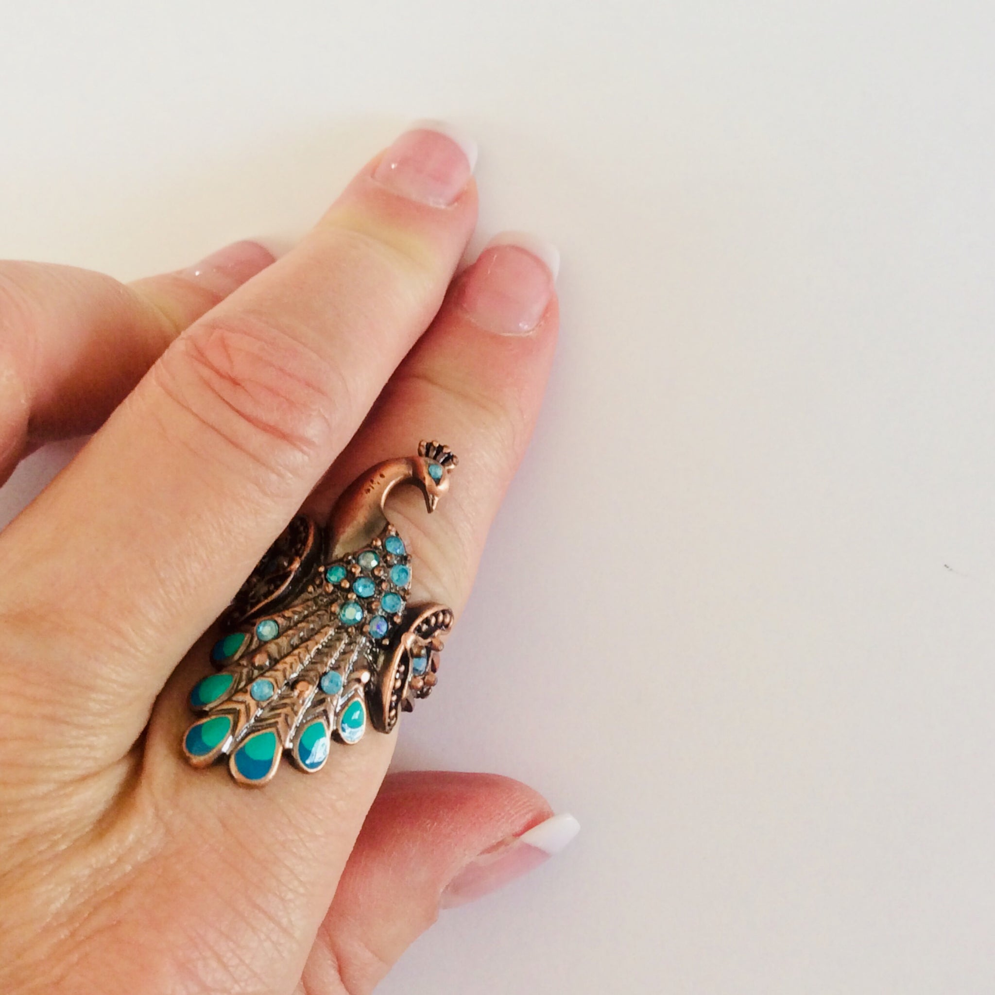 60s Copper Peacock Ring