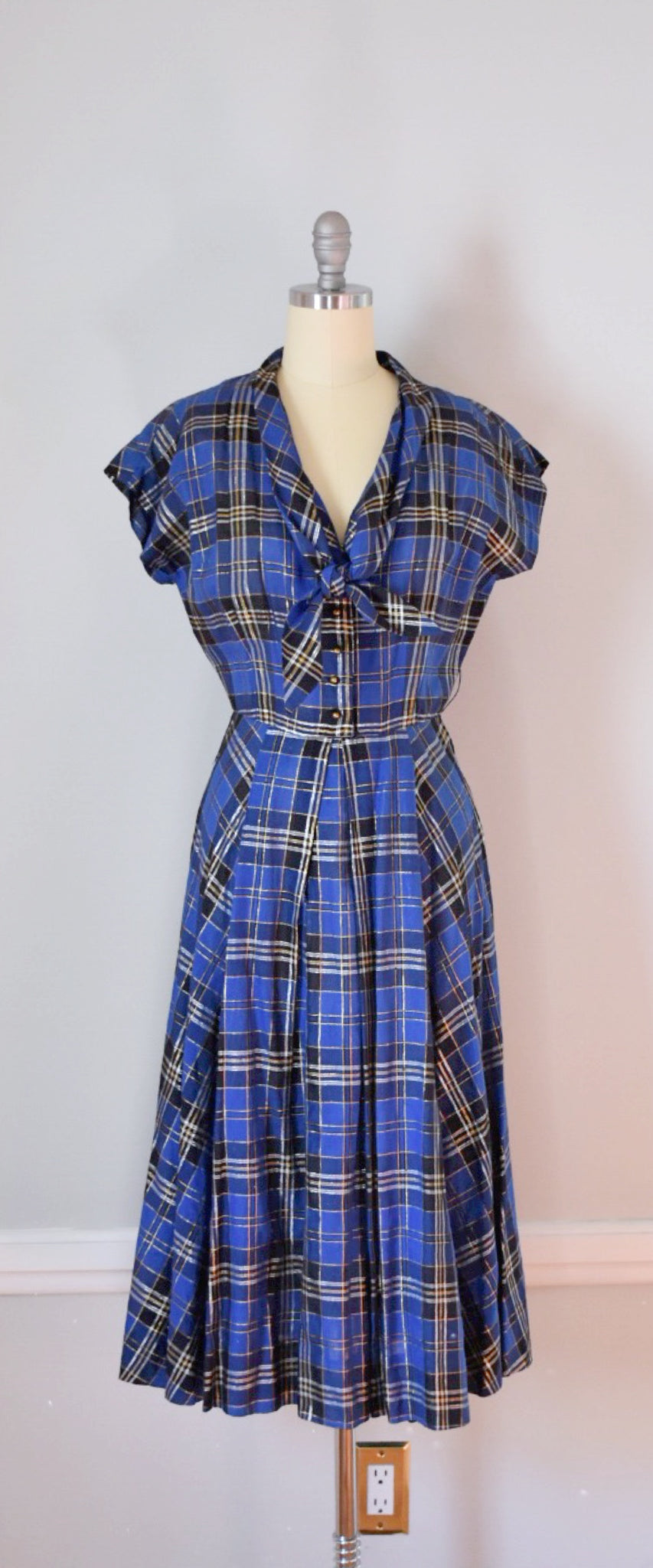 50s Vintage Metallic Shirtwaist Dress