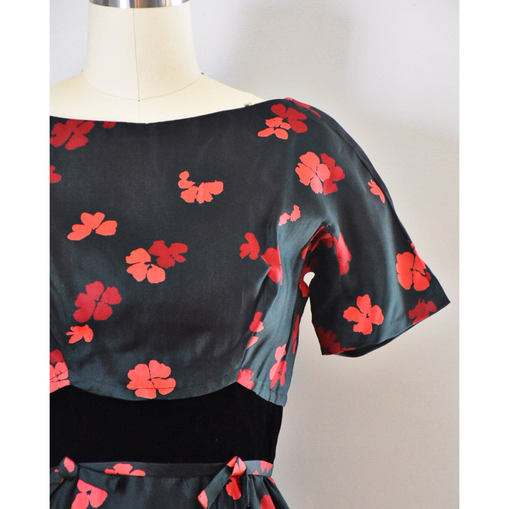 50s Vintage Silk and Velvet Dress