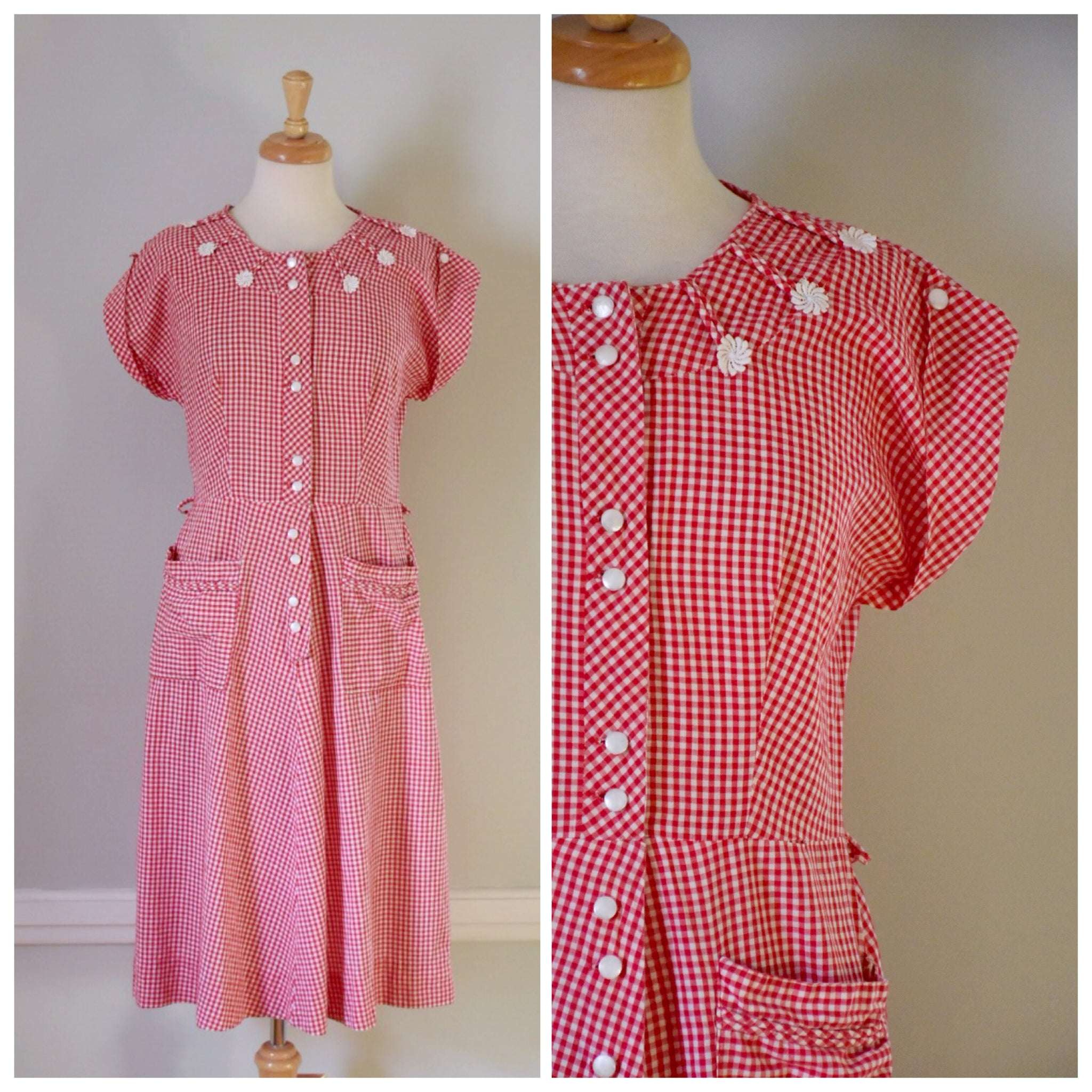 30s / 40s Red and White Gingham Dress