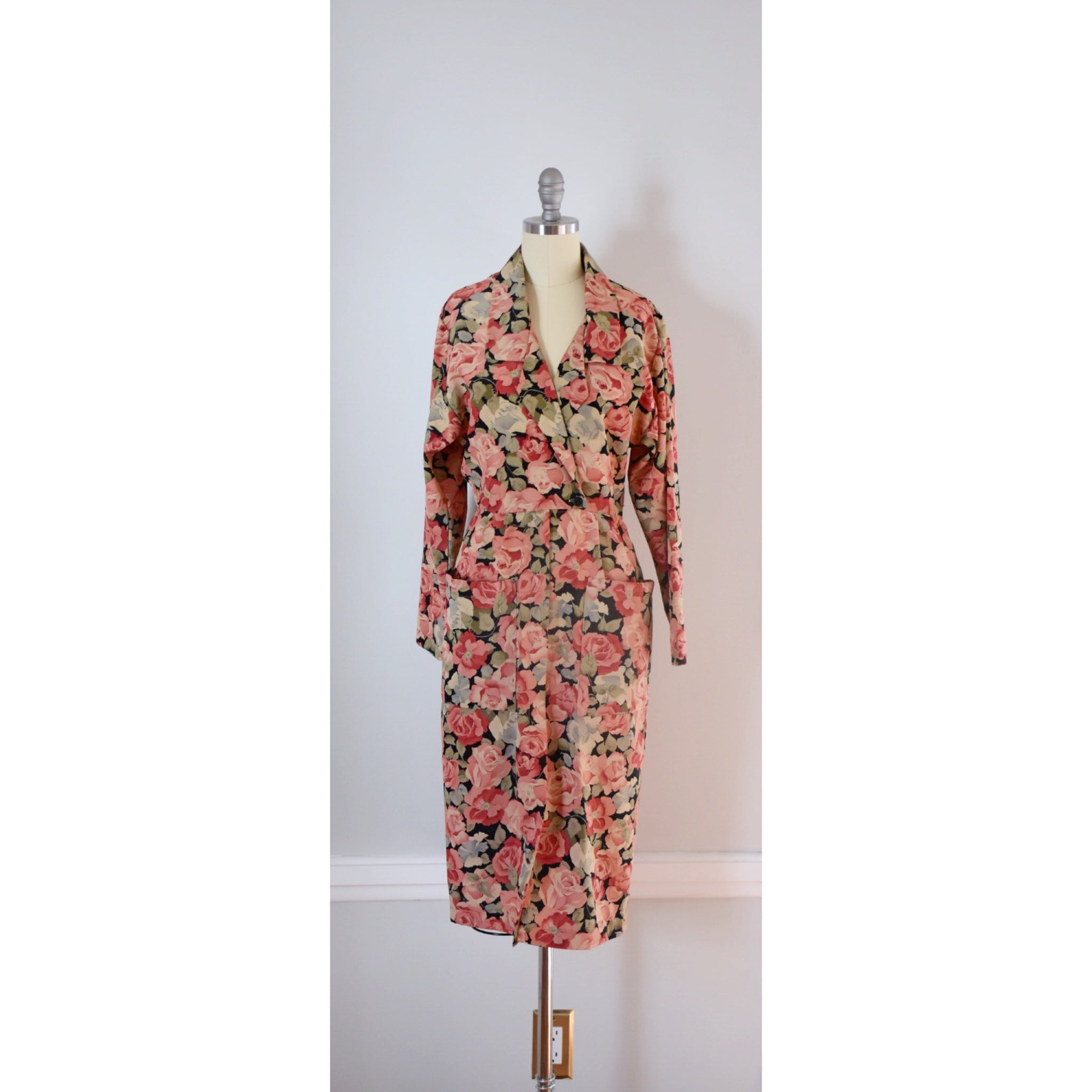 80s 90s Vintage Shirtwaist Dress