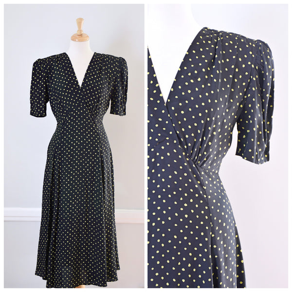 80s Black Polka Dot Rayon Dress