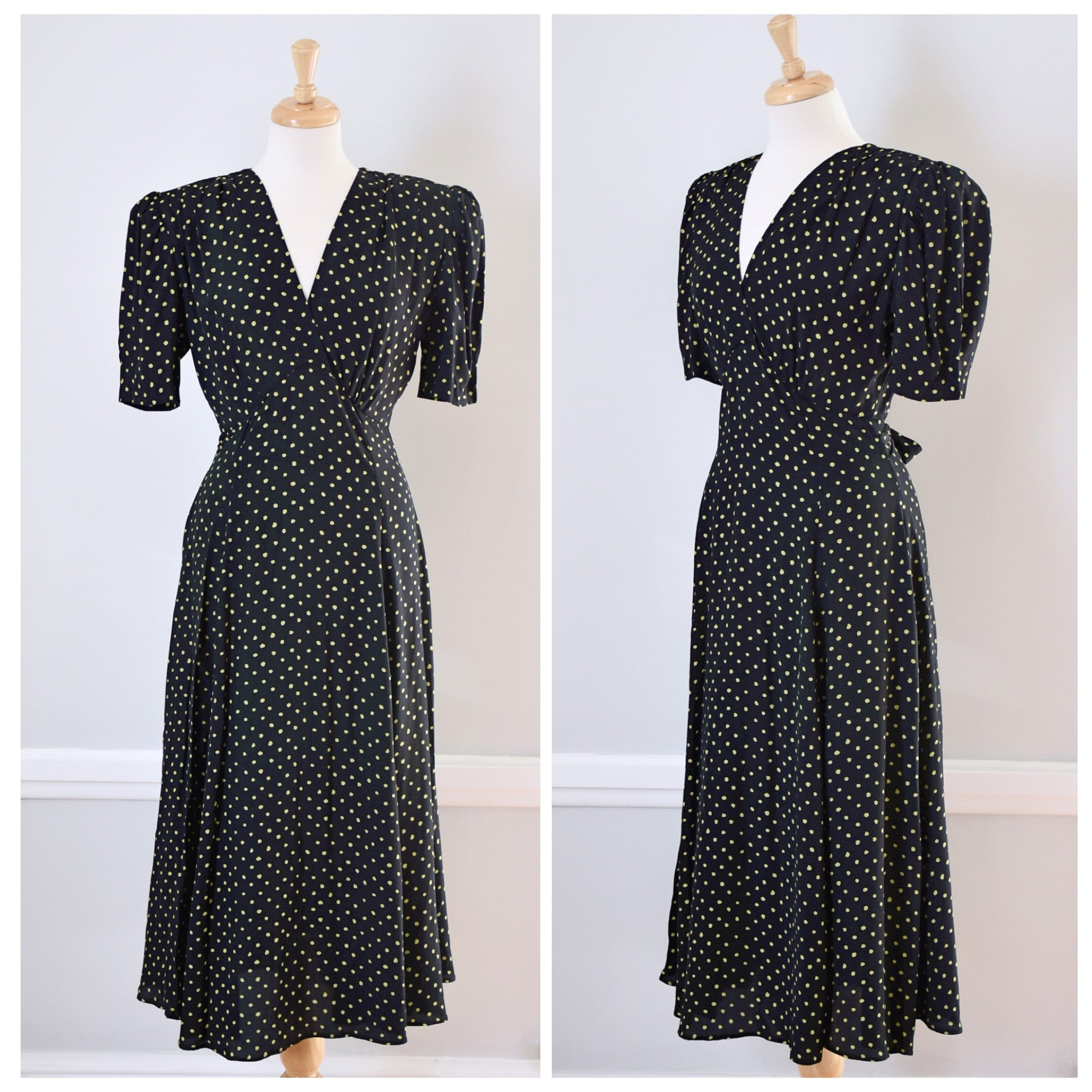 SOLD // 80s Black Polka Dot Rayon Dress