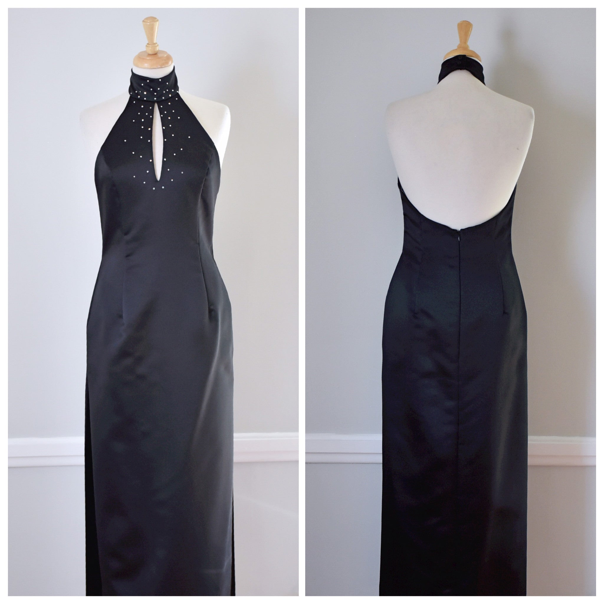 90s Jessica McClintock For Gunne Sax Formal Halter Dress