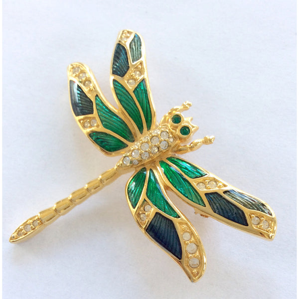 Rhinestone and Enamel Dragonfly Brooch