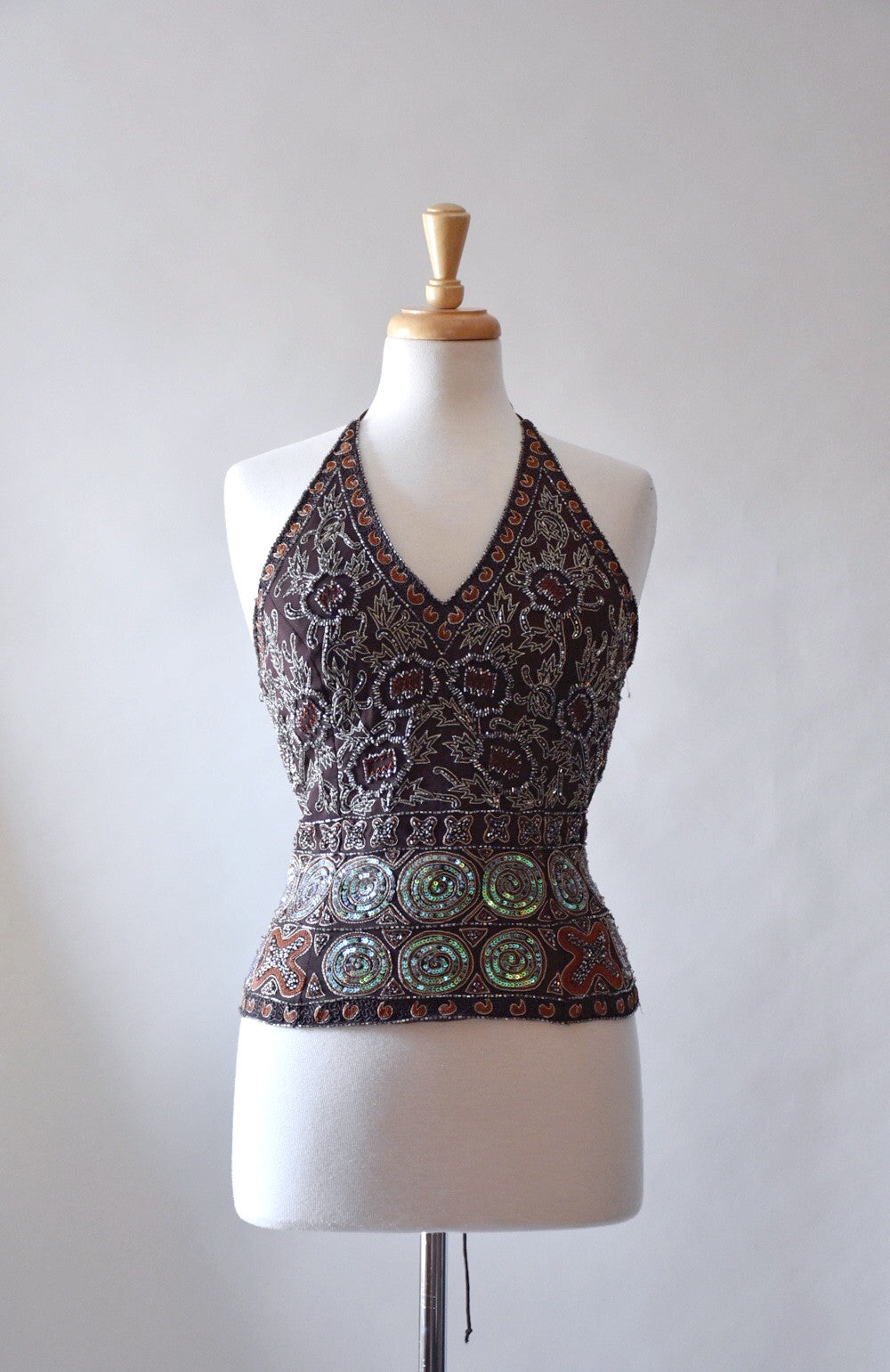 90s beaded halter top