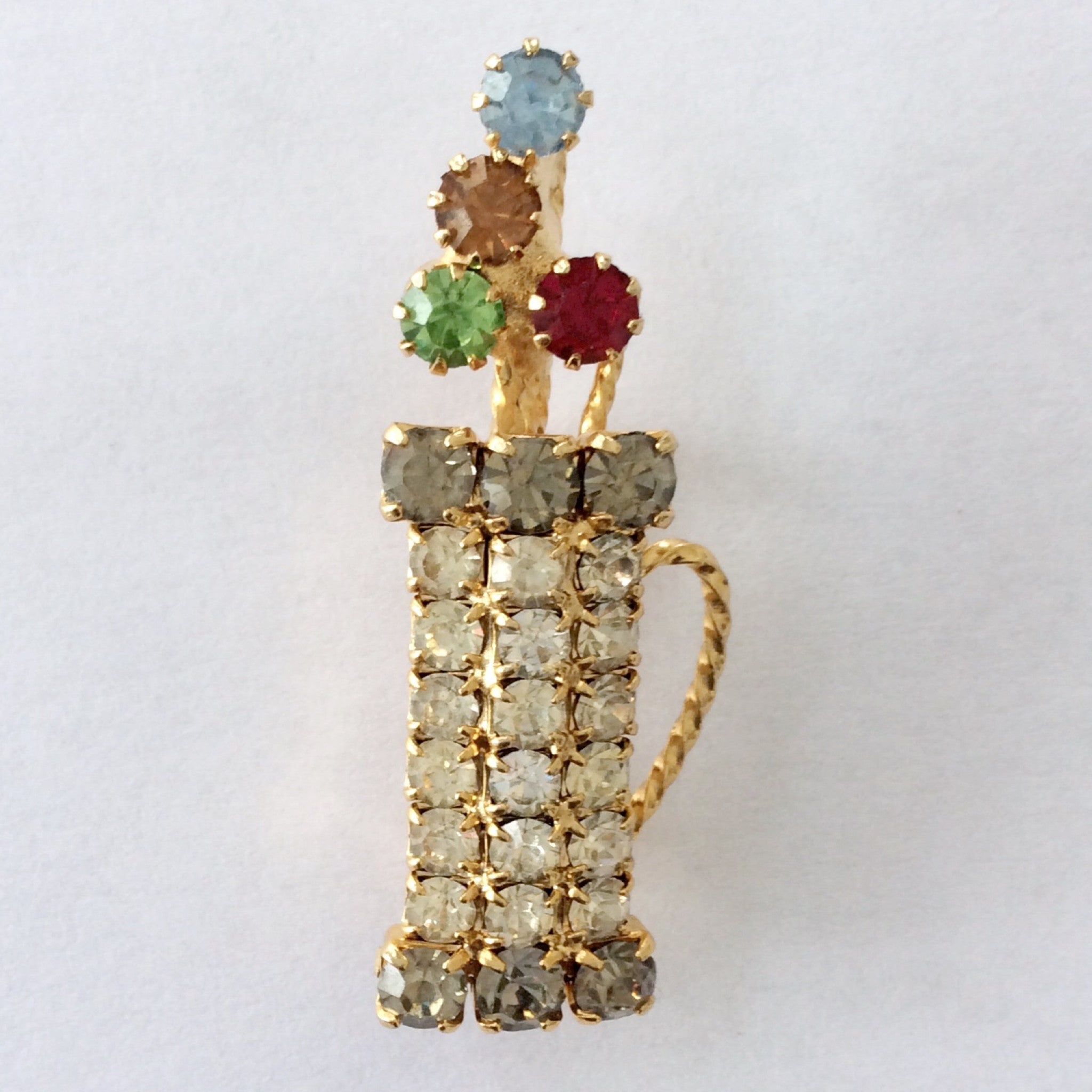 Rhinestone Golf Bag Brooch