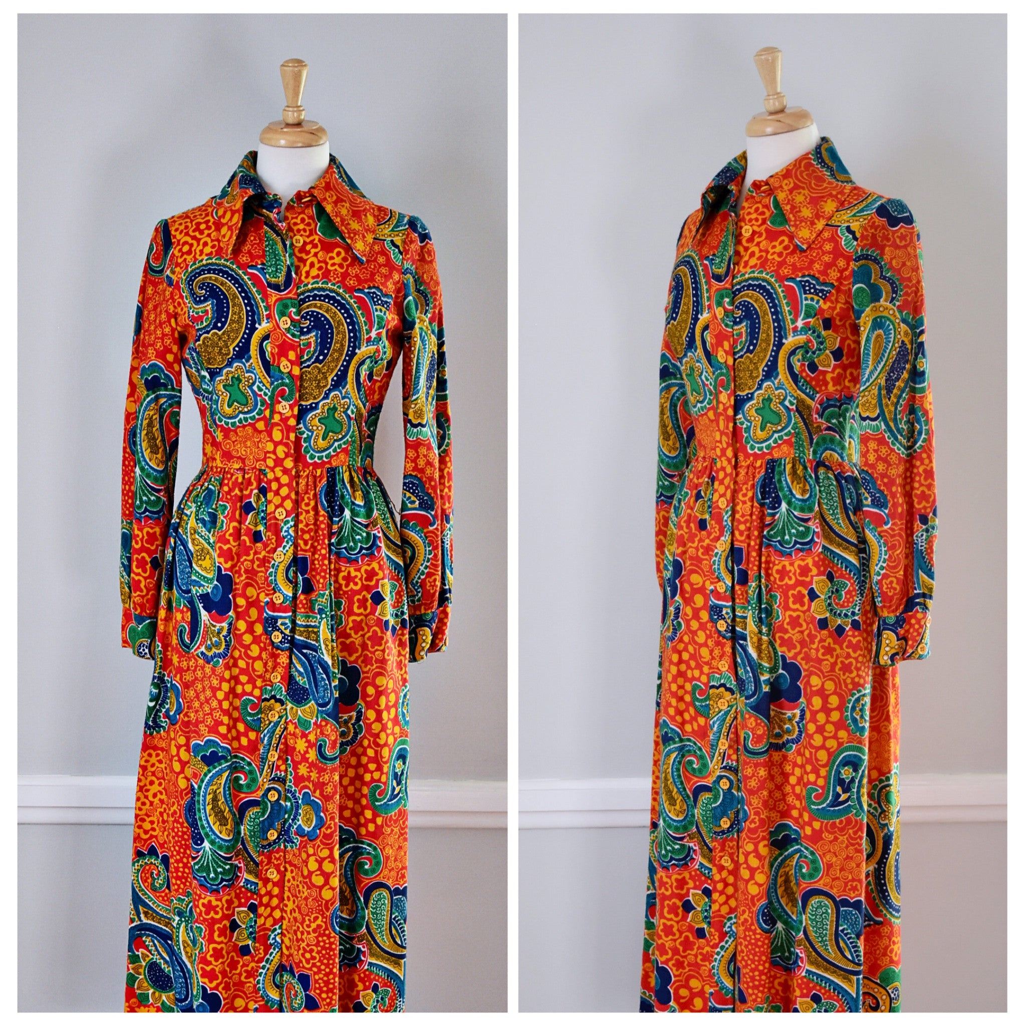 SOLD // 70 Orange Paisley Shirtwaist Maxi Dress