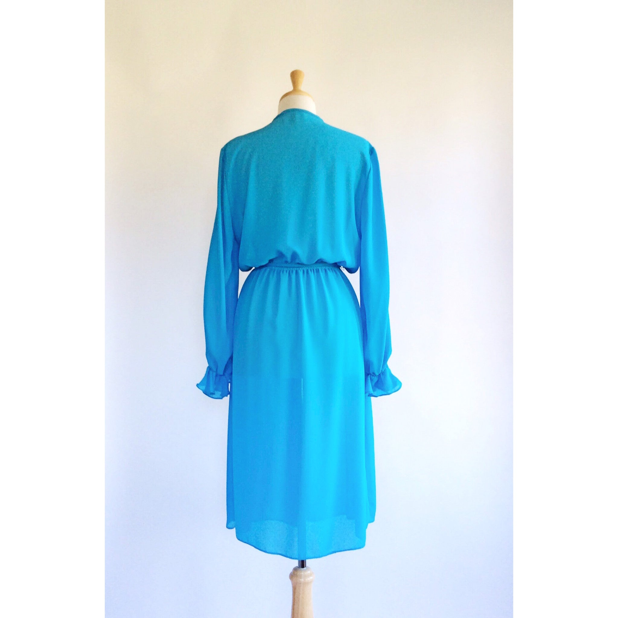 70s Sheer Turquoise Day Dress