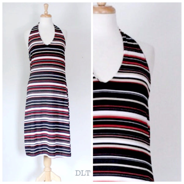 70s Striped Halter Dress