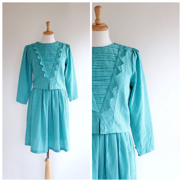 60s turquoise striped dress