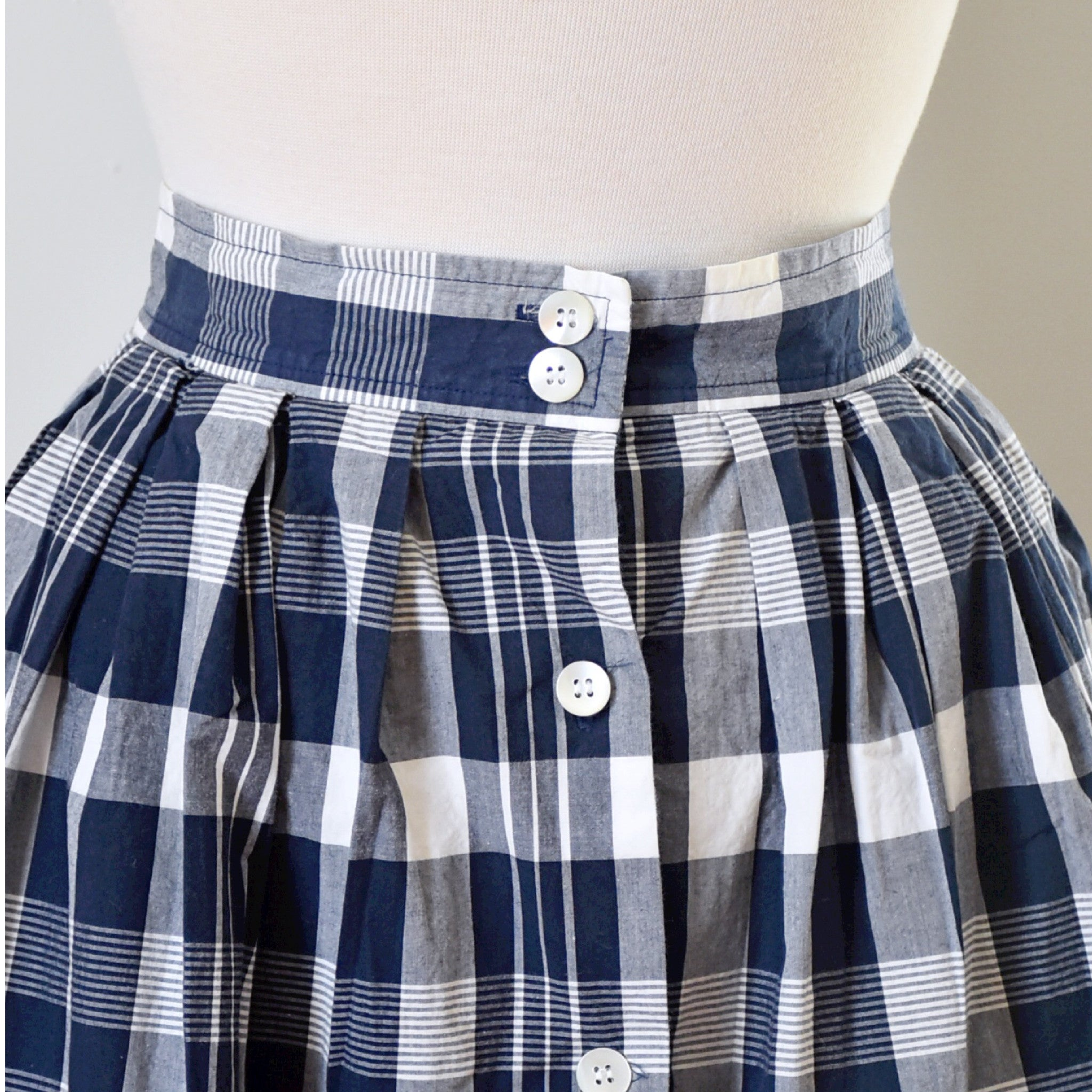 SOLD // 80s Vintage Nautical Plaid Midi Skirt