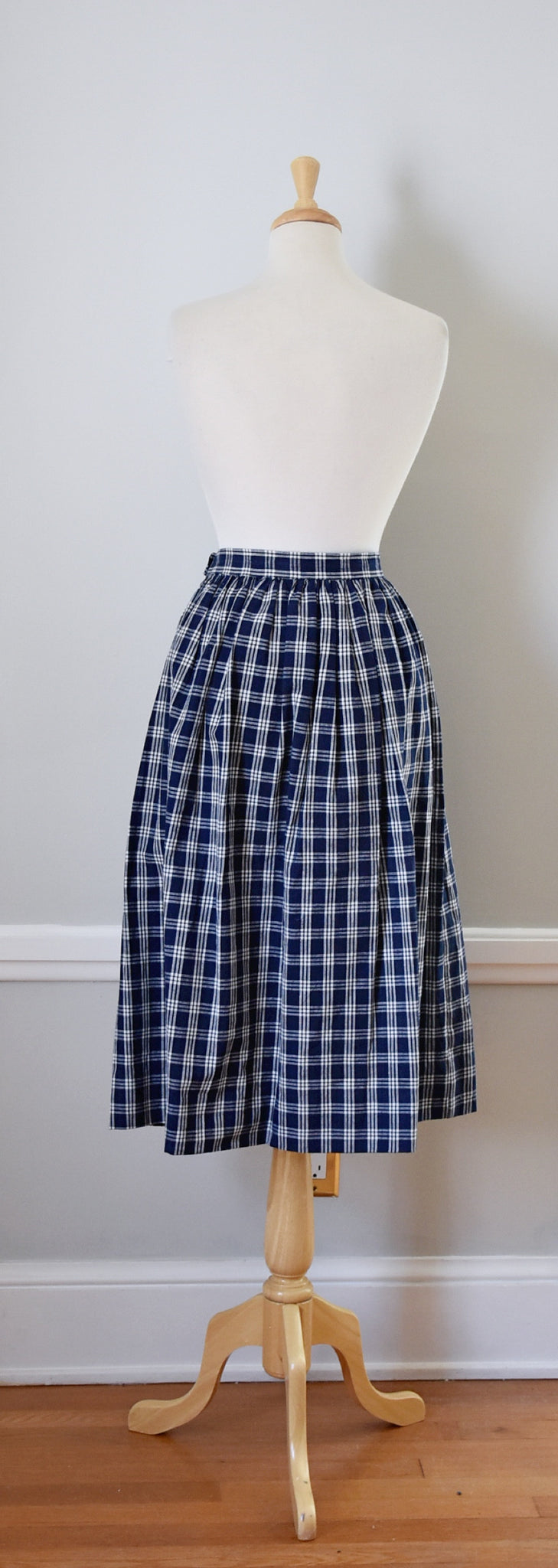 80s Vintage Blue and White Plaid Midi Skirt