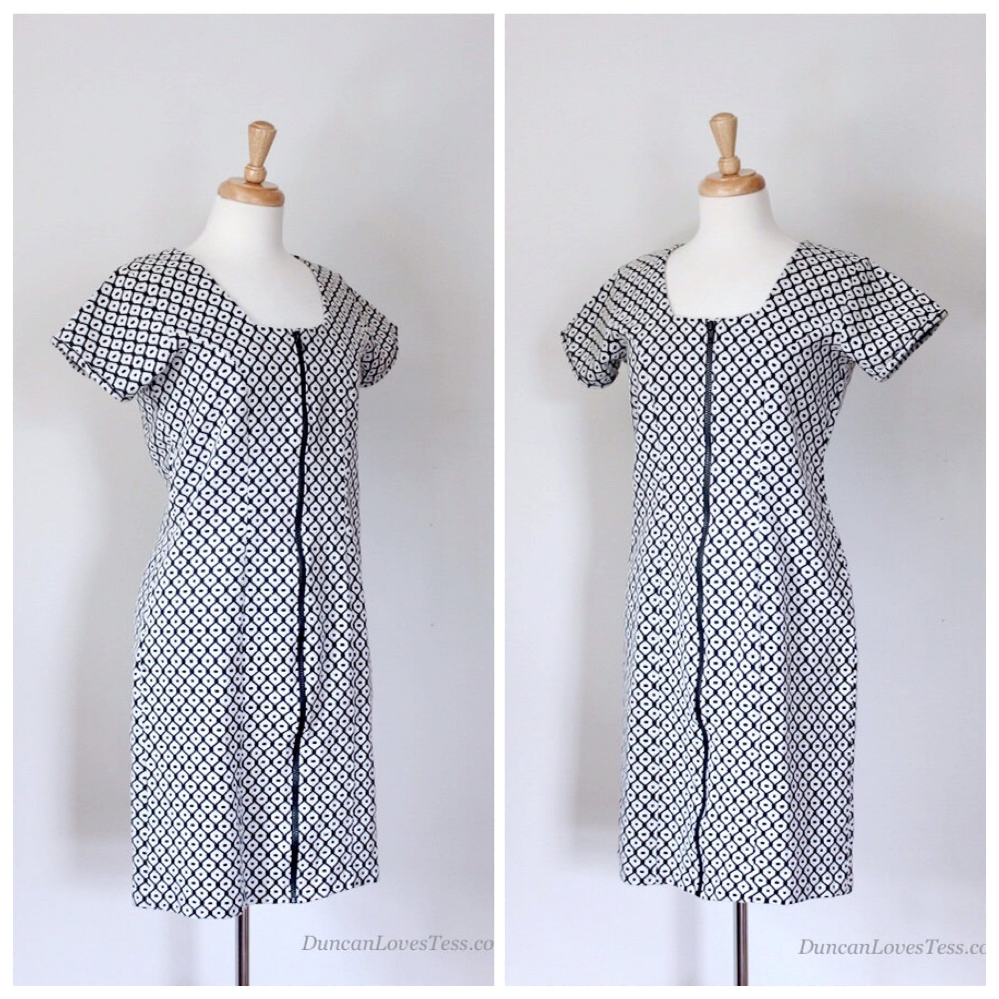 90s Vintage Checked Knit Dress