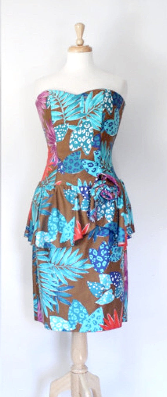 80s Tropical Print Dress