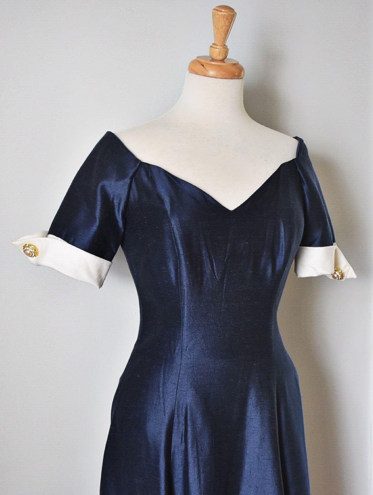 80s Vintage Blue and White Party Dress