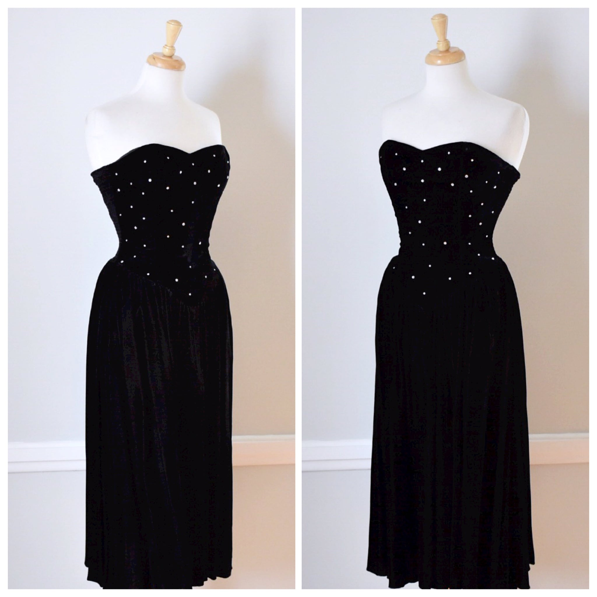 70s velvet and rhinestone dress