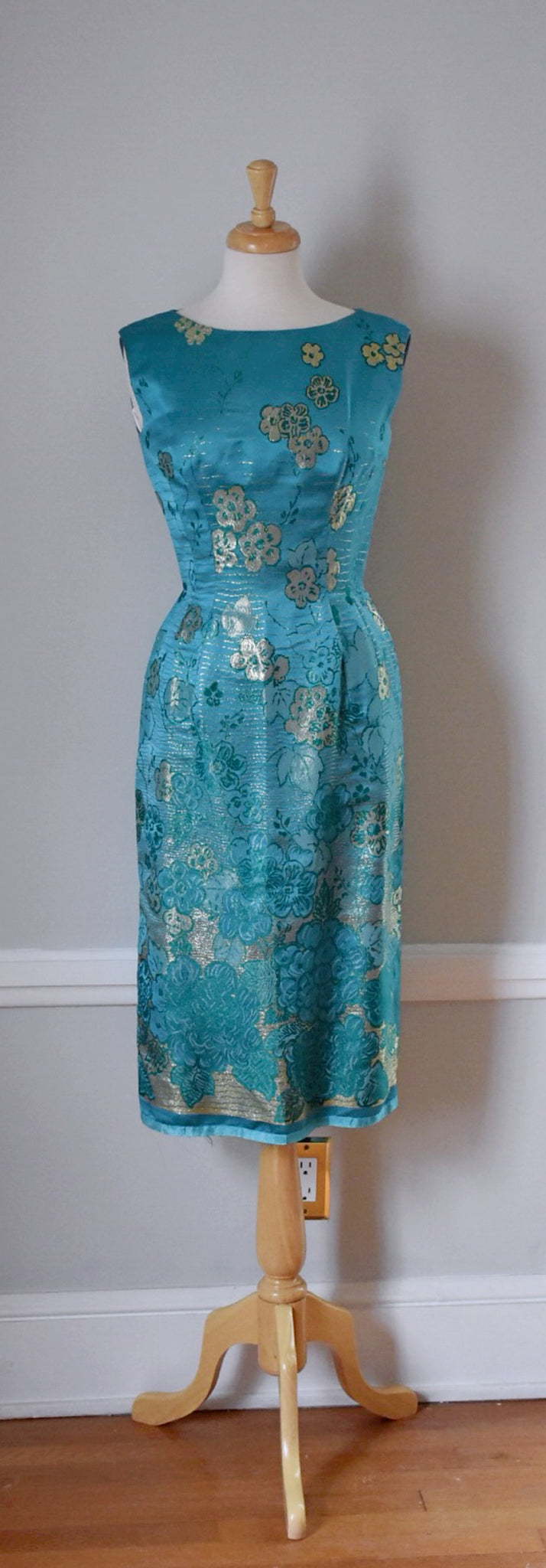 50s teal and gold lame sheath dress