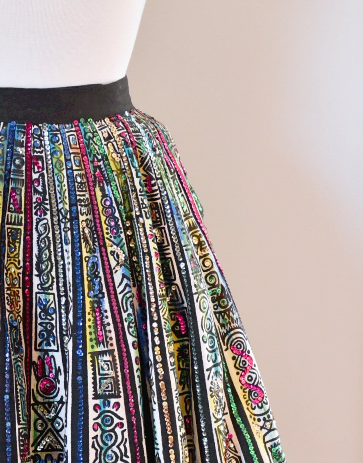 50s Hand Painted Mexican Full Circle Skirt With Sequins
