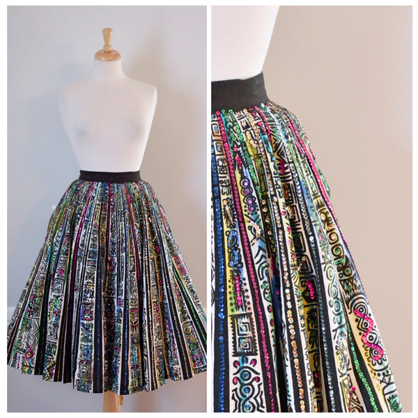 hand painted Mexican full circle skirt