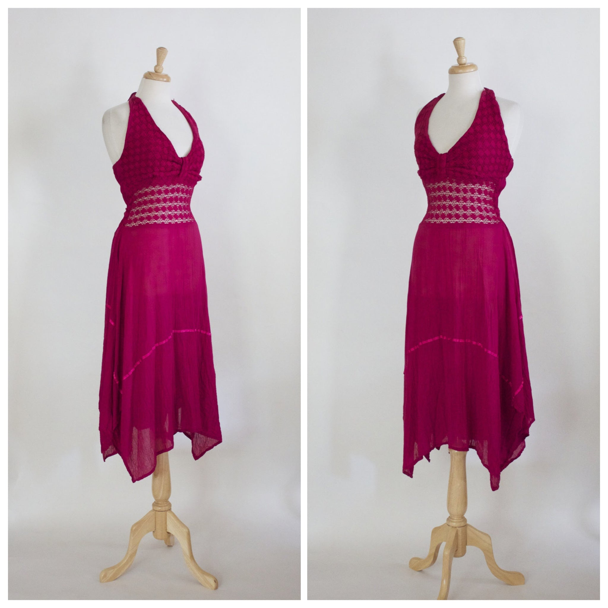 70s Crocheted Halter Dress