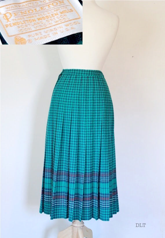 80 Pendleton Windowpane Plaid Skirt
