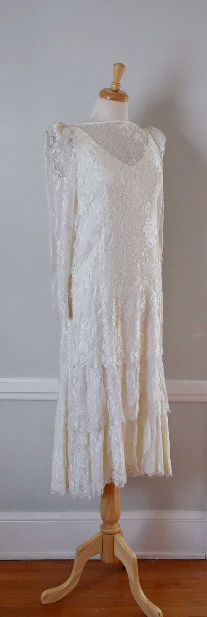 80s Lace Tiered Wedding Dress