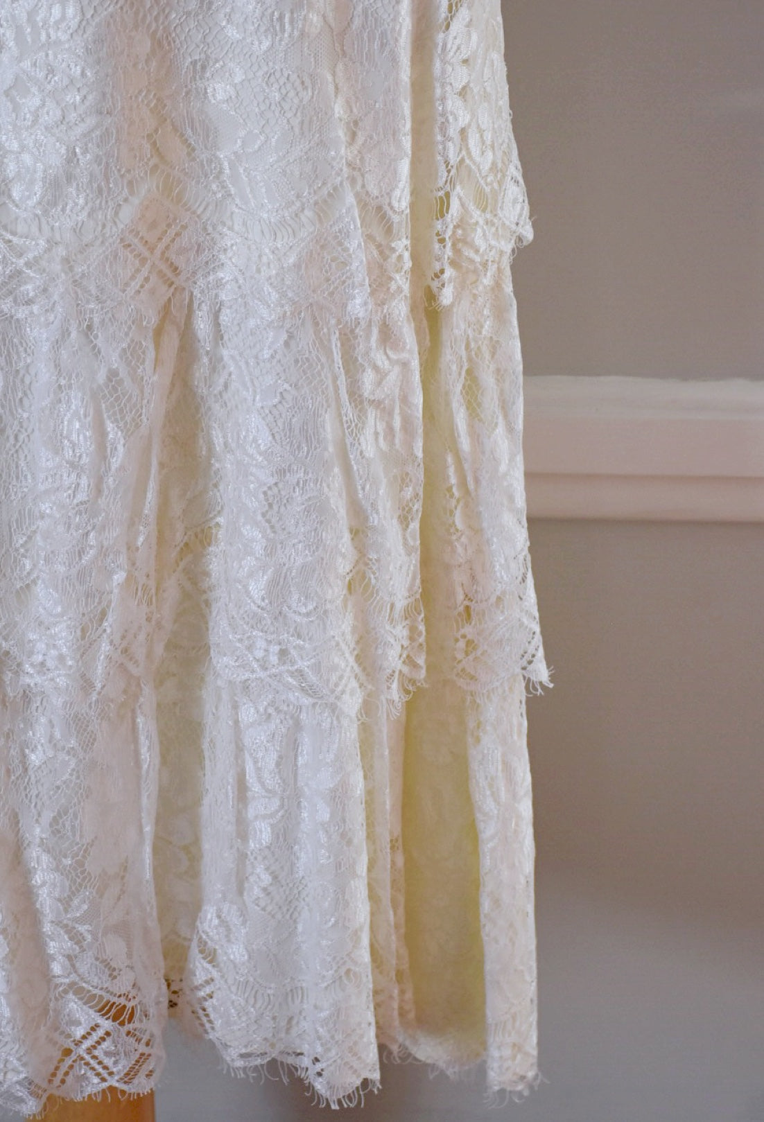 80s Vintage Lace Tiered Wedding Dress