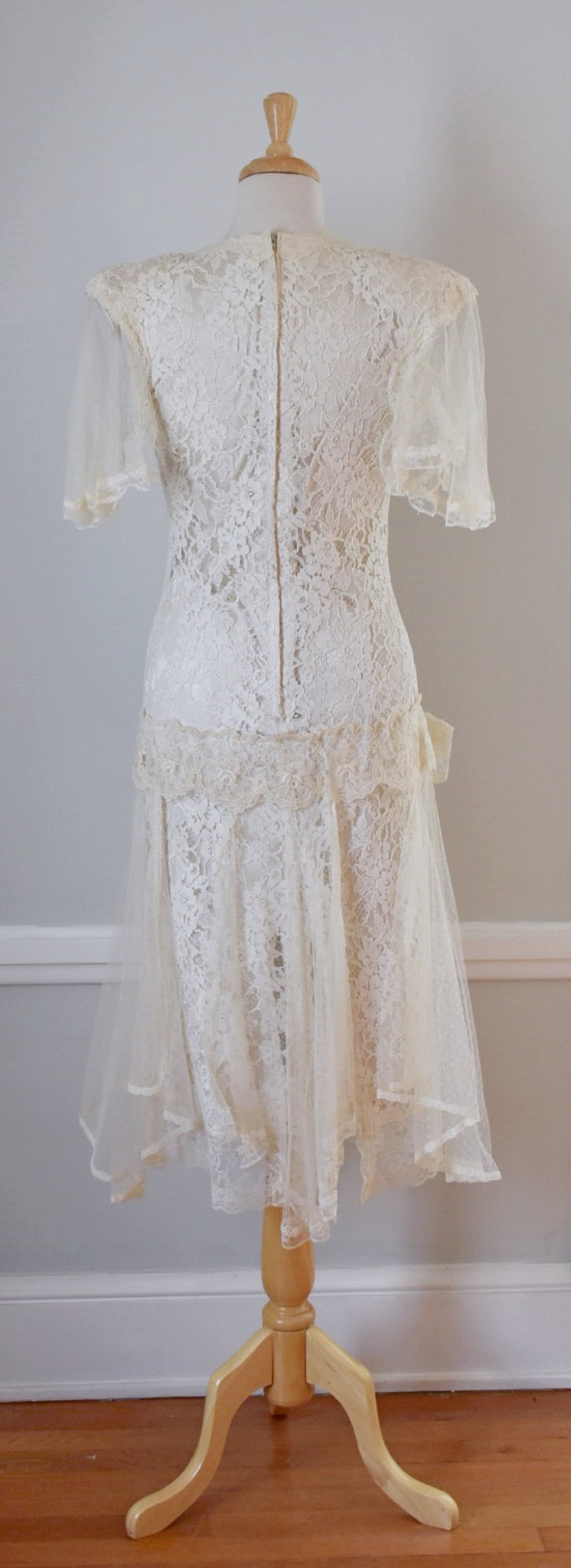 80s Vintage Upcycled Lace Bridal Dress