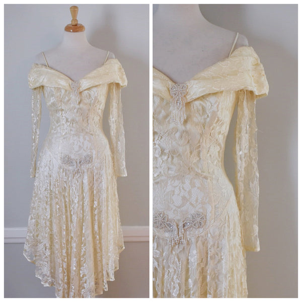 80s Glam Lace Wedding Dress