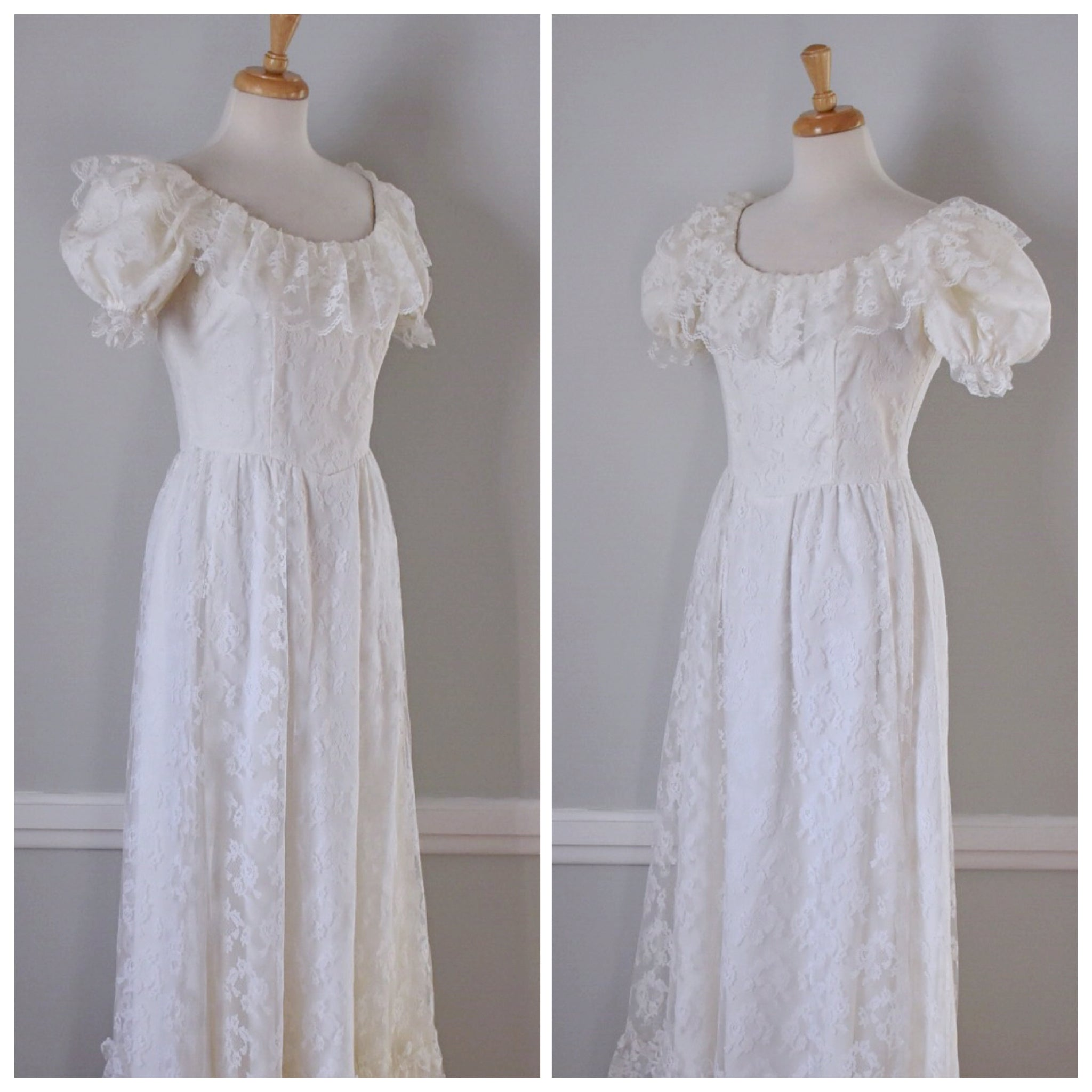 70s Prairie Style Boho Lace Wedding Dress – Duncan Loves Tess ...