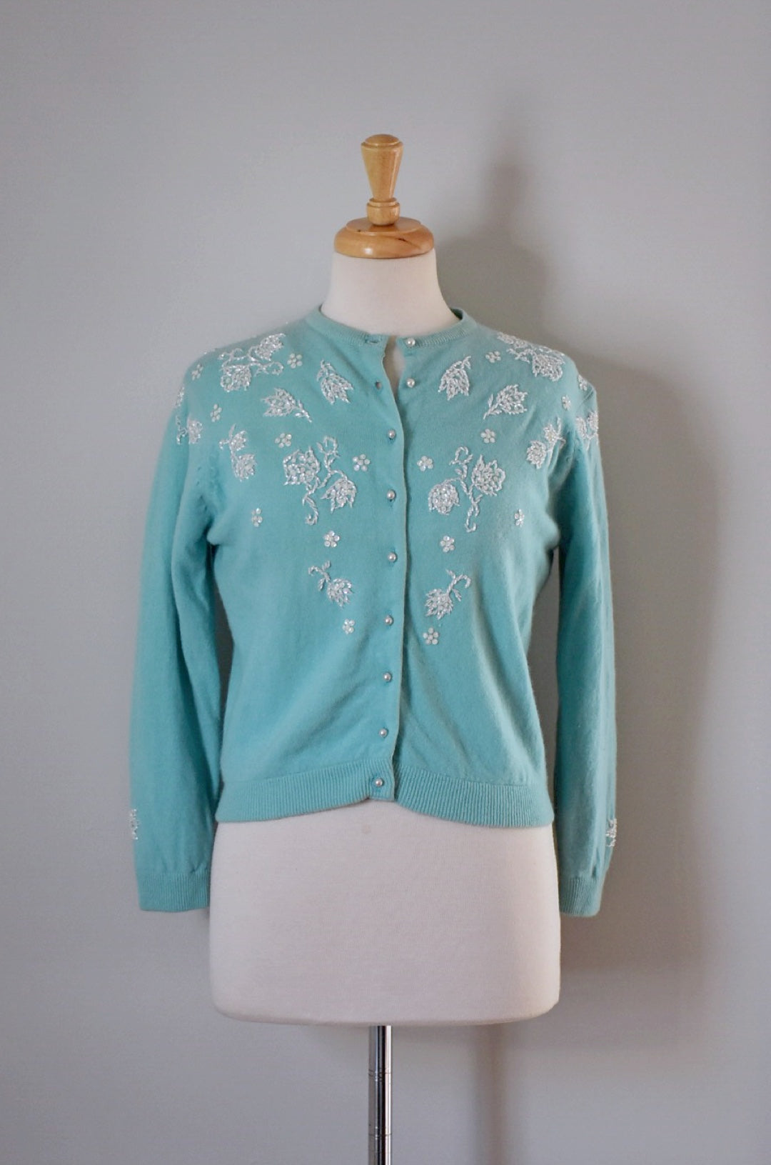 50s Blue Beaded Cardigan