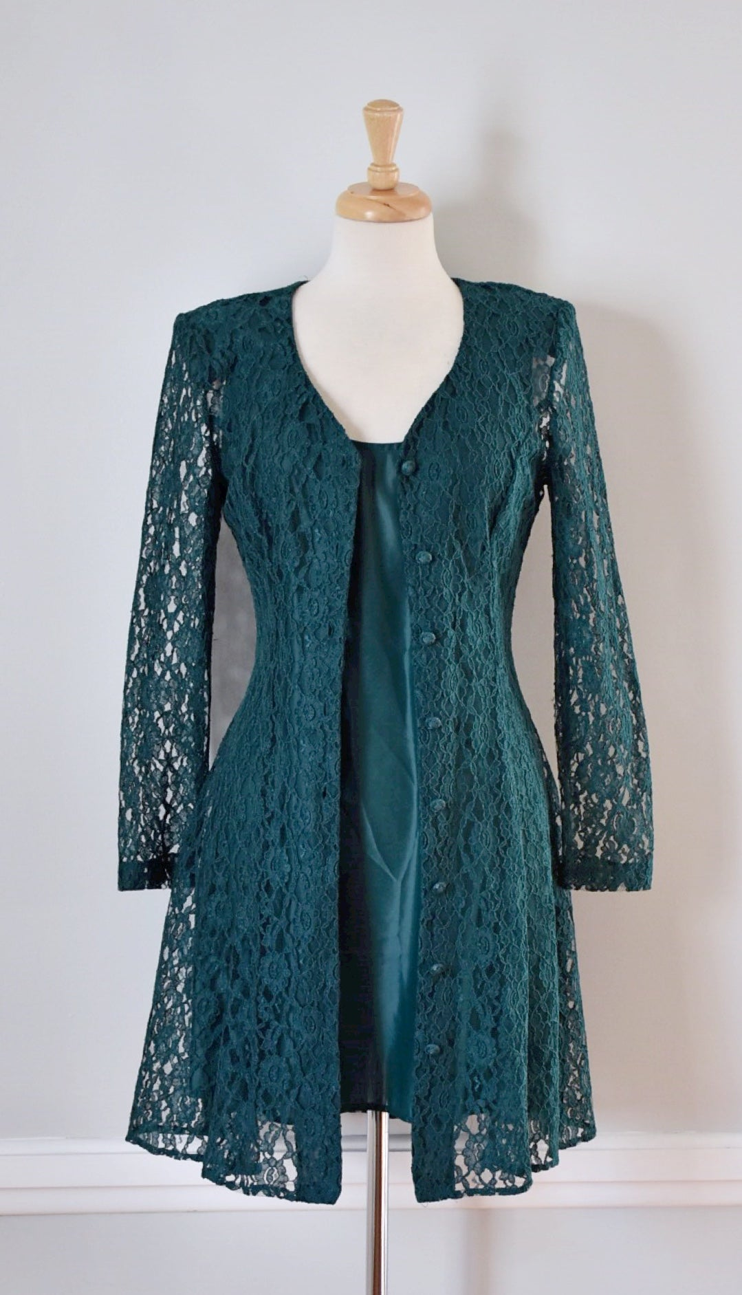 90s Vintage Boho Inspired Green Lace Dress