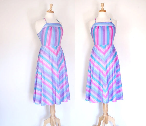 70s Chevron Print Halter Sundress