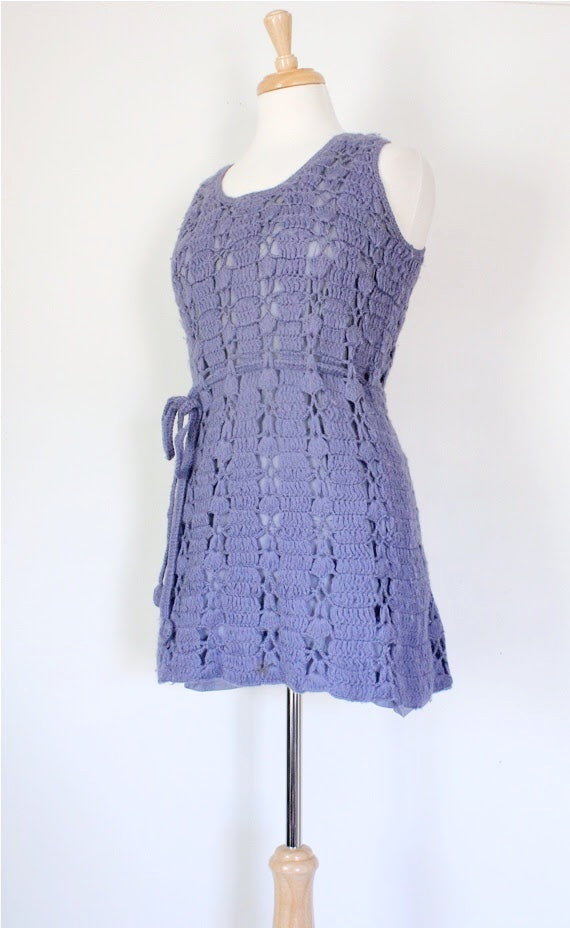 70s Crocheted Mini Dress, Tunic, or Vest