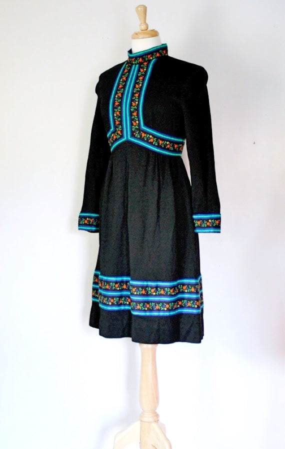 SOLD // 60s Folk Style Black Knit Dress