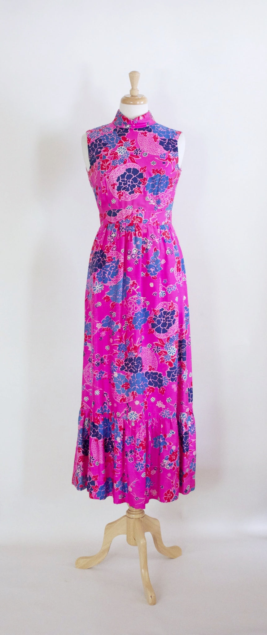 SOLD // 60s Pink Floral Maxi Dress