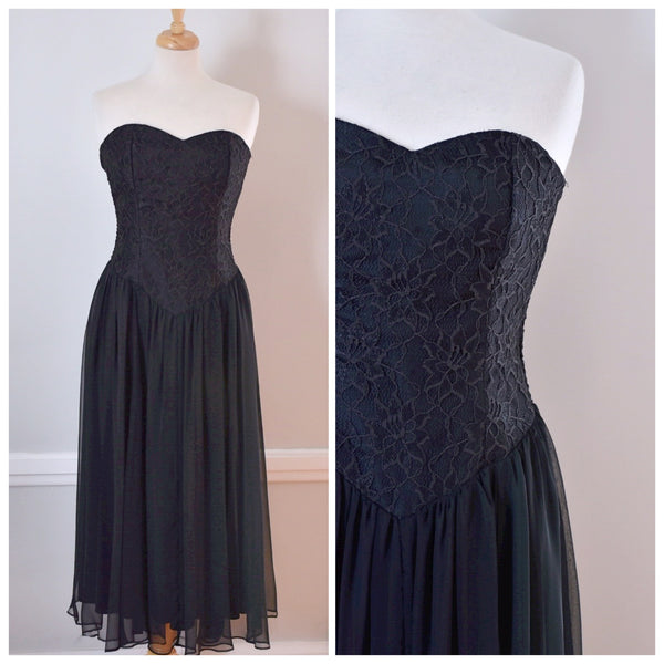 90s Black Lace and Chiffon Party Dress