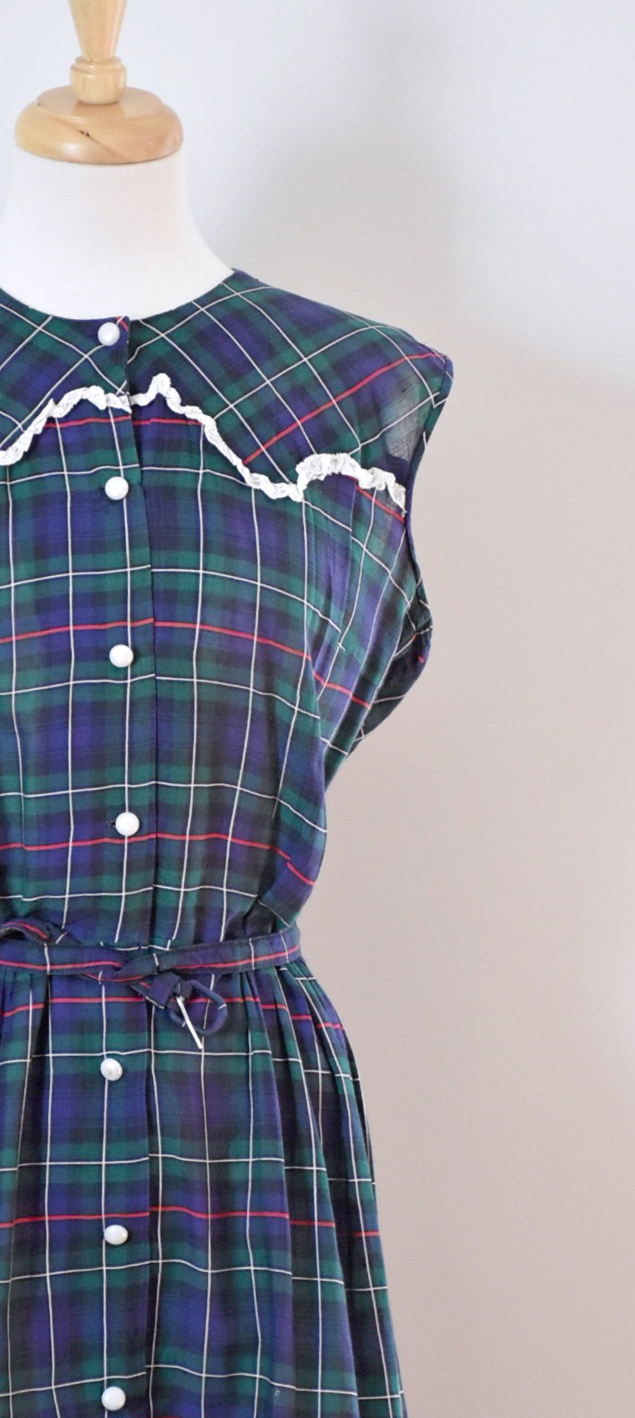 40s Vintage Plaid Day Dress