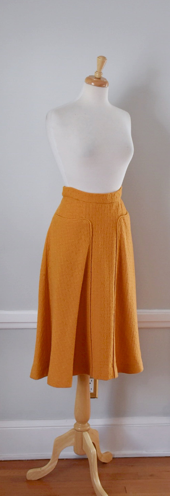40s / 50s Textured Wool Midi Skirt