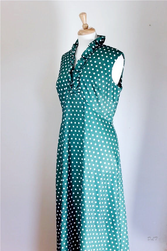 60s / 70s Vintage Polyester Knit Boho Maxi Dress
