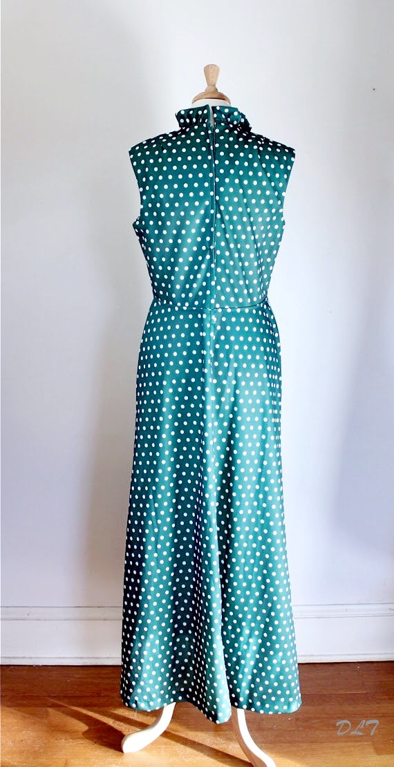 60s / 70s Polka Dot Maxi Granny Dress