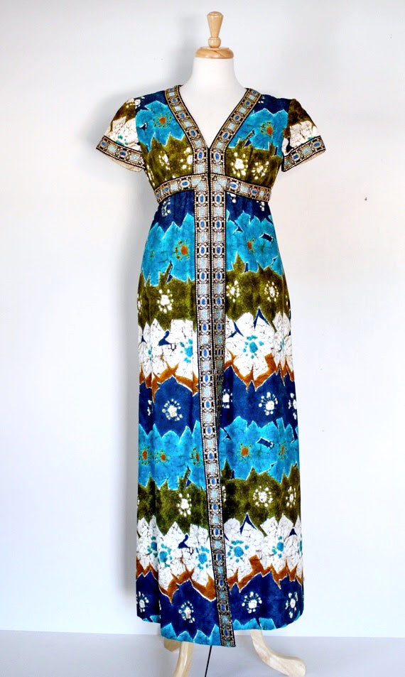 60s Hawaiian Maxi Dress