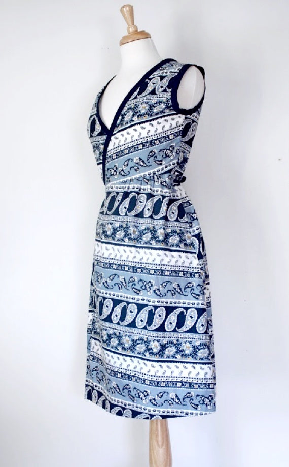 SOLD // 60s Paisley Wraparound Dress